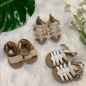 Carters Baby girls sandals bundle size 0-3 months
